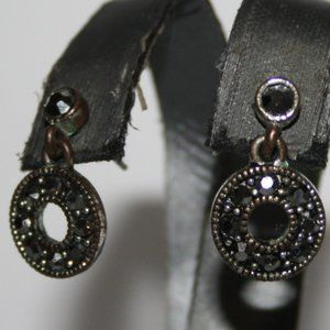 Pretty silver and marcasite post dangle earrings